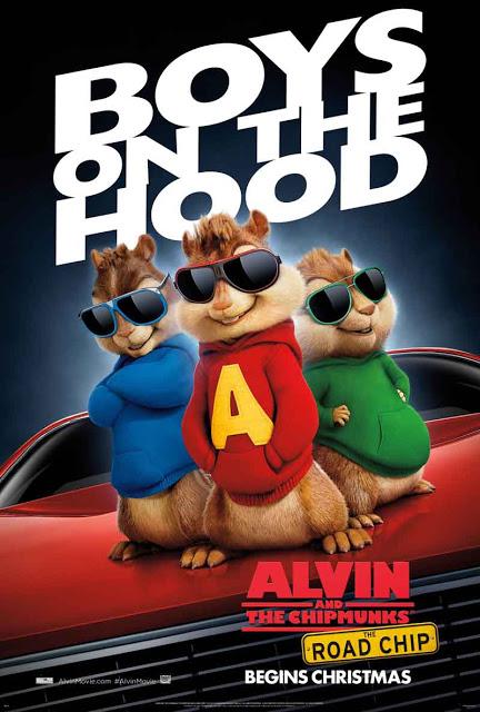 Póster oficial internacional de 'Alvin y las ardillas: Viaje sobre ruedas'