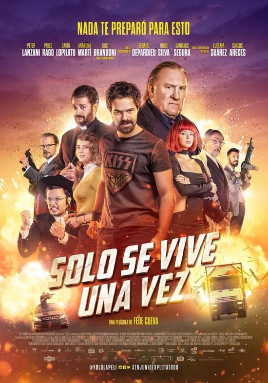 'Sólo se vive una vez': Póster y tráiler de la comedia de acción con Peter Lanzani, Gerard Depardie y Santiago Segura