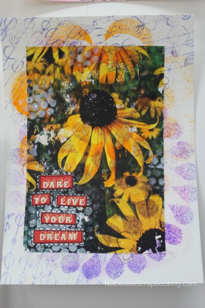 black eyed susan photo transfer art || noexcusescrapbooking.com
