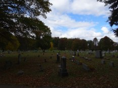 Looking out over the graves at Melrose Cemetary