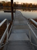 I was surprised to see the dock in the water. I didn't trust the aluminum part. you can see my footprints, I was right. Slide, no fall.