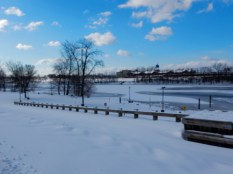 The frozen river is supporting a heavy snow load (mid month)