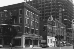 Historic photo of Pearl St. The building on the corner has been torn down,