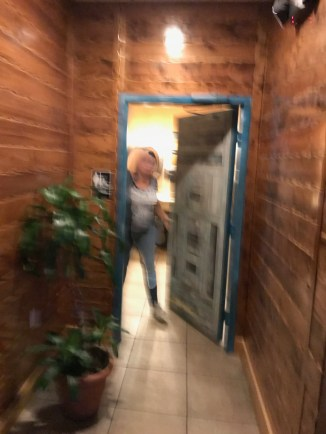 OK, I wanted a photo of the door. I didn't think anyone was going to open it. I also kinda-sorta thought it was a co-ed-family restroom. I had some 'splainin to do, but the woman seemed to believe the Thursday Doors explanation.