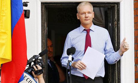 Julian Assange on balcony of Ecuador Embassy