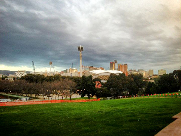 CBD from North Adelaide Adelaide Oval rebuild in foreground