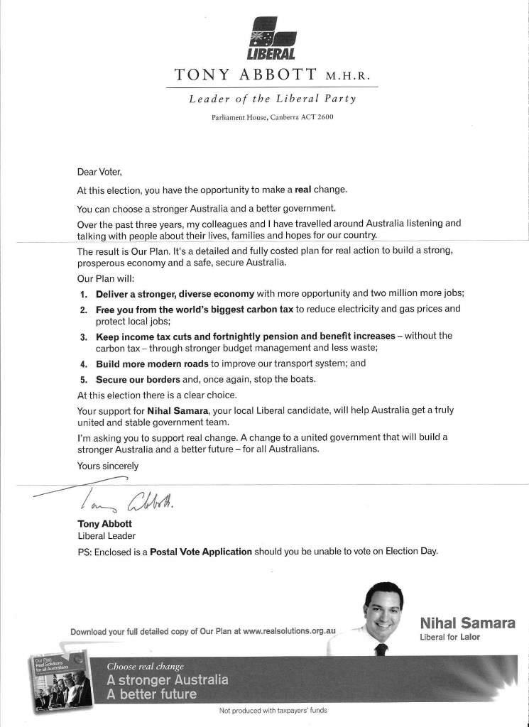 Tony Abbott's letter to voters in Julia Gillard's old seat of Lalor.