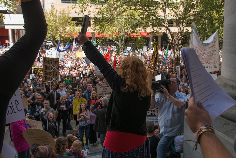Grace Hill addresses the Adelaide March in March rally.