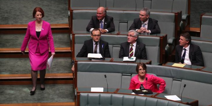 Prime Minister Julia Gillard and cross-benchers in 2012 (Source: Fairfax).