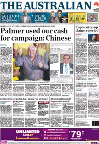 The Australian: Clive Palmer's Chinese business partners claim he used their investment for campaigning.