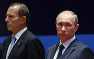 'Blue-tie Man' with Russian President Vladimir Putin at APEC.