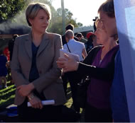 During the 2013 Federal election campaign, Tanya Plibersek listens incredulously to Adrienne Innes on the Newman Government's decision to close Old Yarranlea Primary.