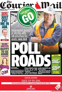 The Courier Mail seemingly gives its' approval of Treasurer Tim Nicholls' asset selling budget 2014.