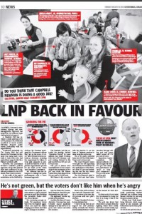 The Courier Mail declares the LNP back in favour with a +1pc rise in the two party preferred count.