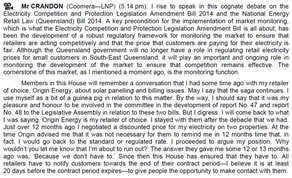 LNP MP Michael Crandon used the reading of a bill to air his grievance with Origin Energy. Hansard September 10, 2014