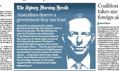 The Sydney Morning Herald editorial on its front page.