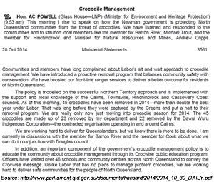 Qld Parliament Hansard, October 28 2014: Crocodile Management