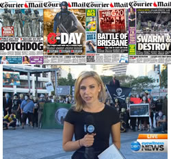 G20: Some of The Courier Mail front pages contrasted with a peacful Anonymous protest.