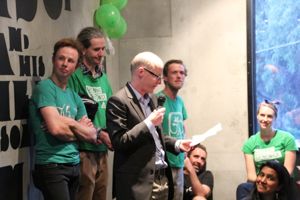 The Greens Dr Tim Read saying Brunswick is a close contest and thanking the many Greens supporters and voters