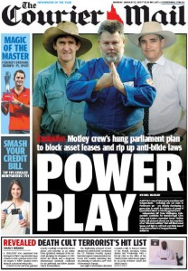 12/01/15 The Courier Mail  - Power Play - Motley crew's hung parliament plan to block asset leases and rip up anti-bikie laws