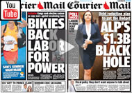 """Recipe for Chaos"": A LNP advertisement uses two Courier Mail front pages"