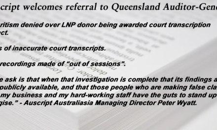 Auscript welcomes referral to Queensland Auditor-General: @Qldaah #auslaw #qldpol