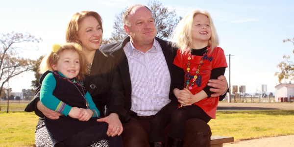 Sophie Mirabella and family after winning Liberal preselection for Indi at the next federal election.