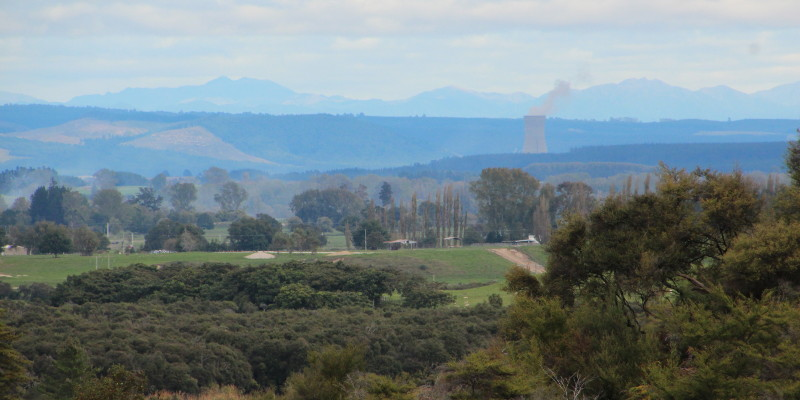 Green fields north of Rotorua and the cooling tower of Ohaaki Geothermal power station in the middle distance. Photo: John Englart