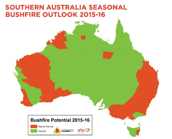 Bushfire outlook for Australia's 2015/2016 summer. Source: Bushfire and Natural Hazards Cooperative Research Centre (BNHCRC)