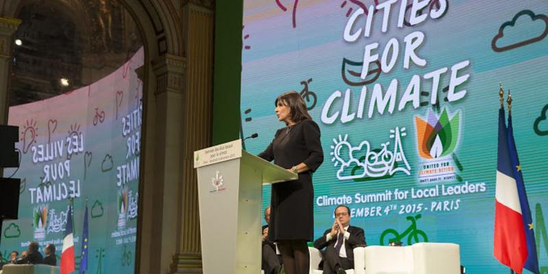 Paris Mayor Anne Hidalgo launching Cities climate summit, a side event to COP21. Photo: ©Mairie de Paris