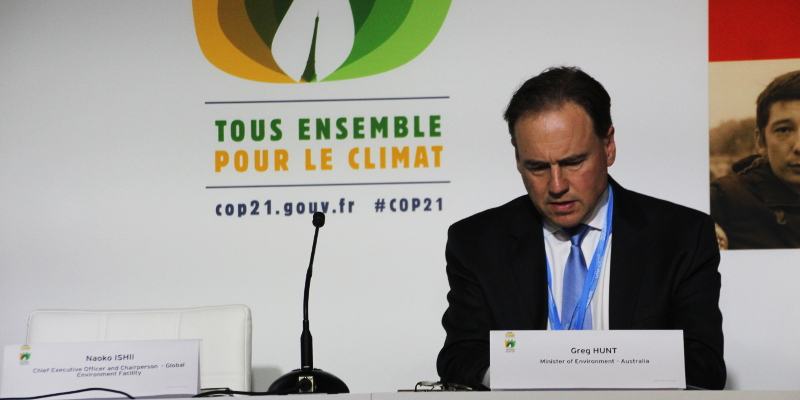 Greg Hunt at COP21 in Paris Photo: John Englart