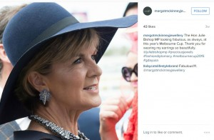 Julie Bishop models McKinney at The Melbourne Cup.