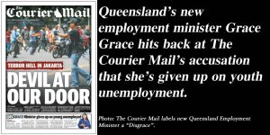 Queensland's new employment minister Grace Grace hits back at The Courier Mail's accusation that she's given up on youth unemployment.