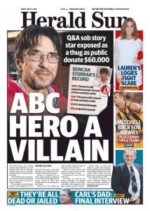 The Herald Sun - ABC Hero A Villain, May 13, 2016.