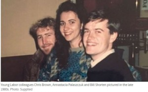Young Labor colleagues Chris Brown, Annastacia Palaszczuk and Bill Shorten pictured in the late 1980s. Photo: Supplied