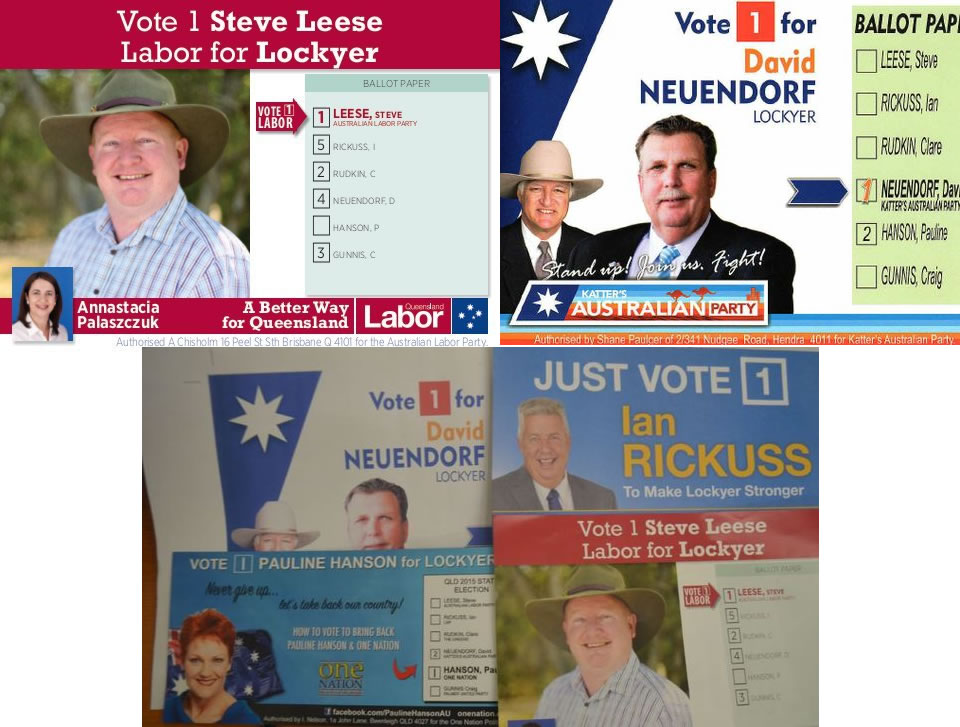 How-to-vote cards from the 2015 Queensland election for the electorate of Lockyer