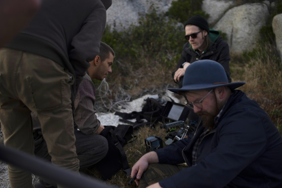 Nicholas Ashe Bateman, Zach Schaefer and David Ross on location in Nova Scotia