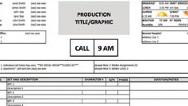 Call Sheet Template Excel  Free Download