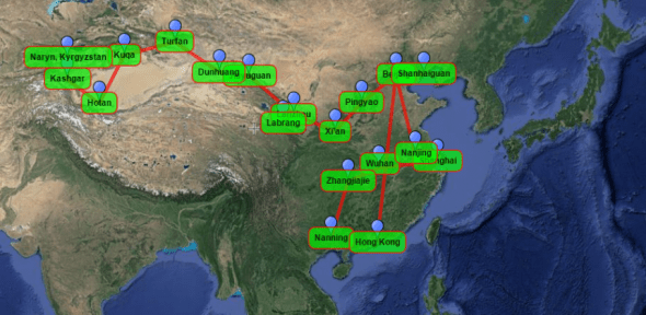 Mr route through China...