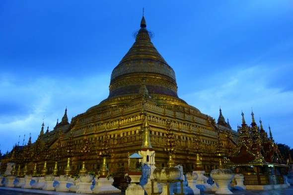 temple lit up at dusk