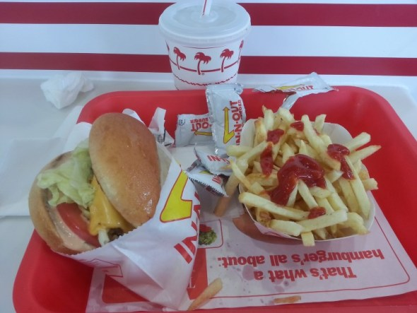 In and out burger fries and a soda
