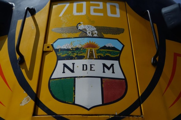 Logo on front of diesel train