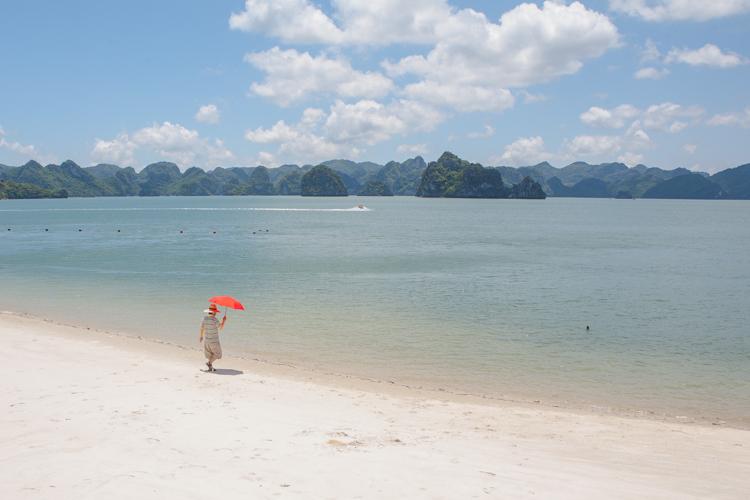 ha long bay, sandy beach, woman