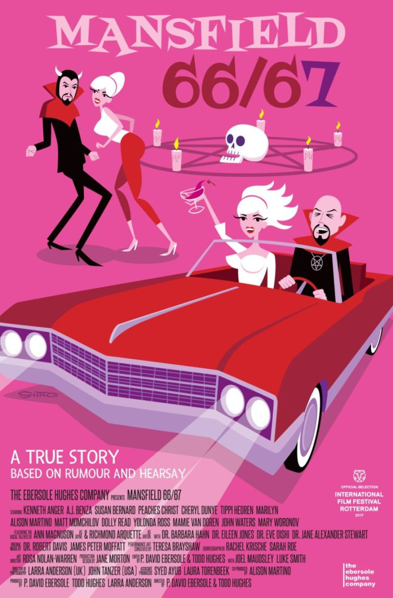 Movie poster for Mansfield 66/67. A cartoon of Jayne Mansfield and Anton LaVey driving in a red convertible. Mansfield holds up a glass of wine. The pair dance in the background as well.