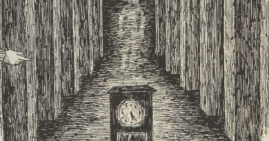 the house with a clock on it's walls john bellair illustration