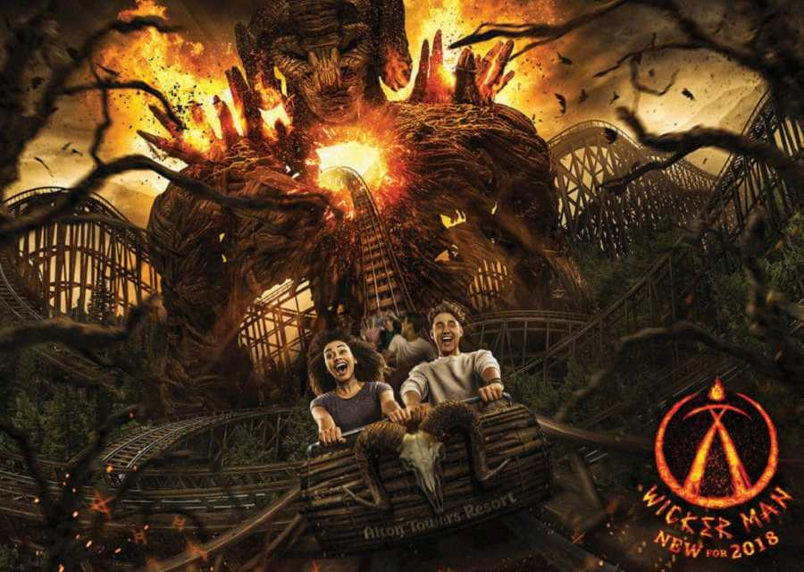 Get HURLED THROUGH FIRE in New WICKER MAN Roller Coaster!