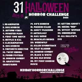 31 day horror movie challenge halloween nightmare on film street 2021 purple