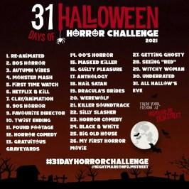 31 day horror movie challenge halloween nightmare on film street 2021 red