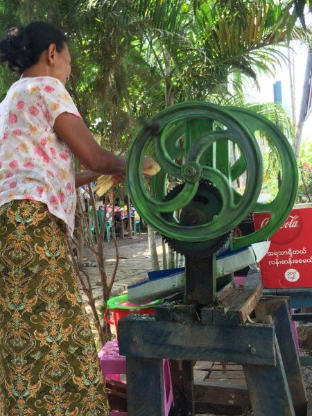 Sugar cane juice hawker, Bagan, Myanmar (Burma)