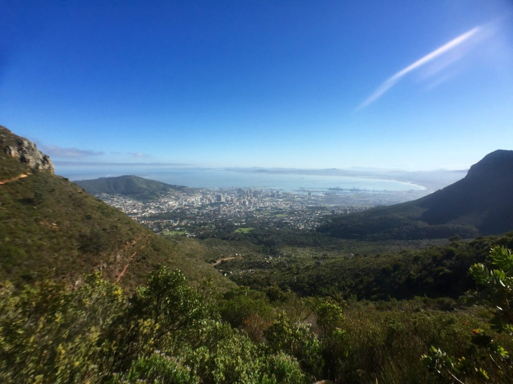 Cape Town view and blue sky from Platteklip Gorge trail